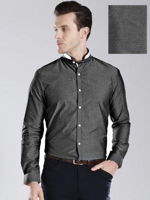 Invictus Men Self Design Formal Grey Shirt at flipkart