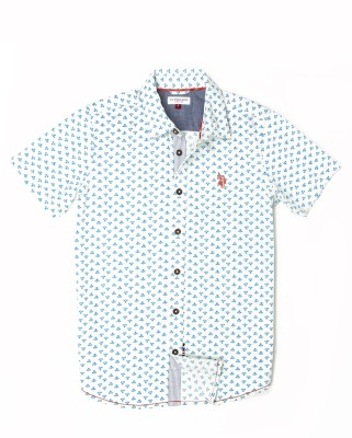 US Polo Kids Boys Printed Casual White Shirt  available at flipkart for Rs.649