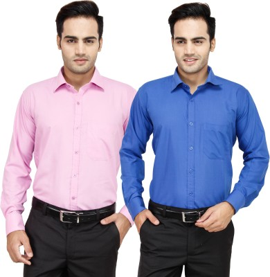 Frankline Men's Solid Formal Multicolor Shirt(Pack of 2)