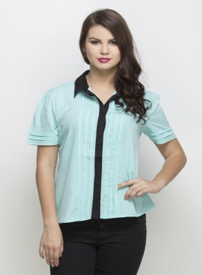 Oxolloxo Women Solid Casual Green Shirt at flipkart