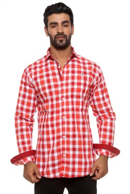 Fifty Two Men's Checkered Casual Orange Shirt