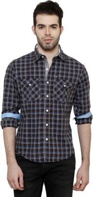 True Tittos Men's Checkered Casual Brown, White, Light Blue Shirt