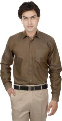 25th R Men's Solid Formal Brown Shirt