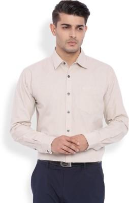 La Seven Men's Solid Casual Beige Shirt