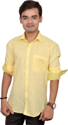 Silver Cuffs Men Solid Casual Yellow Shirt at flipkart