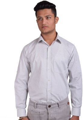 Indian Karma Men Printed Casual White Shirt