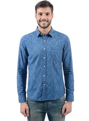 Flying Machine Men's Printed Casual Blue Shirt at flipkart