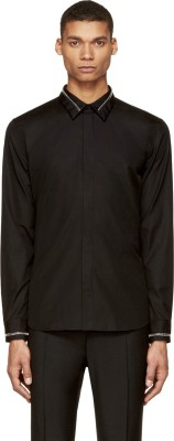 Protext Men Solid Casual Black Shirt at flipkart