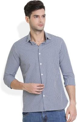 Urban Attire Men's Checkered Casual White Shirt