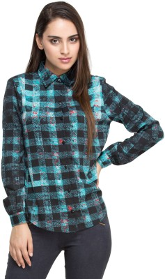 Oxolloxo Women Checkered Casual Blue Shirt at flipkart