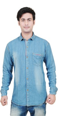 Swiss Culture Men's Solid Casual Denim Blue Shirt