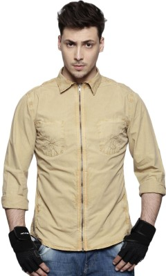 Roadster Men Solid Casual Brown Shirt at flipkart