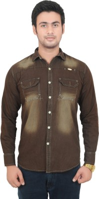 Swiss Culture Men's Solid Casual Denim Brown Shirt