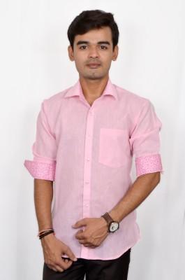 Silver Cuffs Men Solid Casual Pink Shirt at flipkart