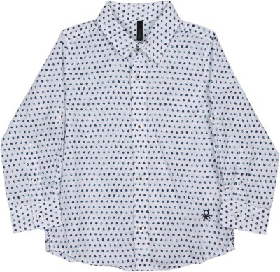 United Colors of Benetton. Boys Printed Casual White, Blue Shirt at flipkart