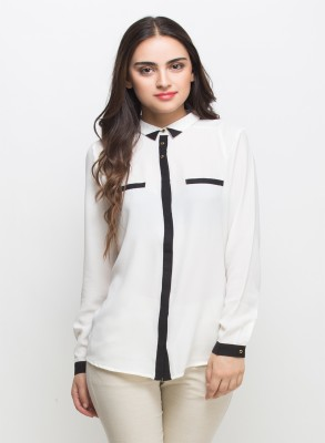 Oxolloxo Women Solid Formal White Shirt at flipkart