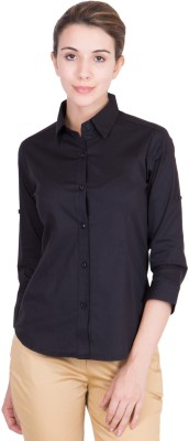 Purple Feather Women Solid Formal Black Shirt