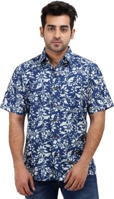 Padmini Negotium Men's Self Design Casual Blue Shirt