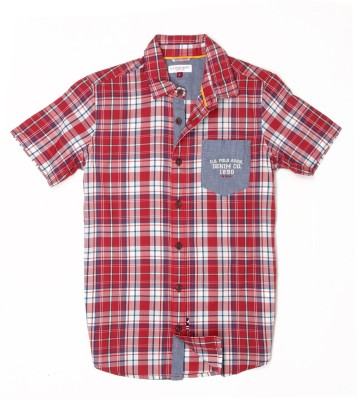 US Polo Kids Boys Checkered Casual Red Shirt  available at flipkart for Rs.649