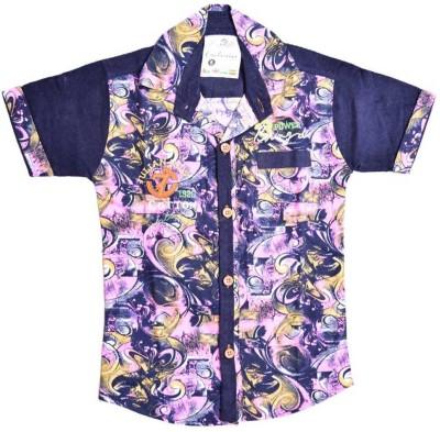 British Terminal Boys Self Design Casual Pink Shirt at flipkart