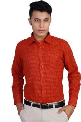 Helg Men's Checkered Formal Linen Red Shirt