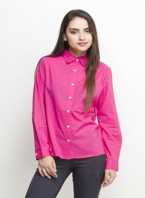 Oxolloxo Women Solid Casual Pink Shirt at flipkart
