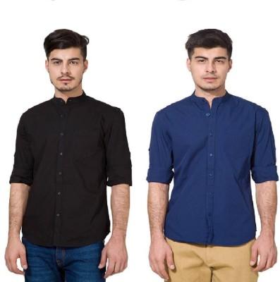 Urbano Fashion Men's Solid Casual Black, Blue Shirt(Pack of 2)