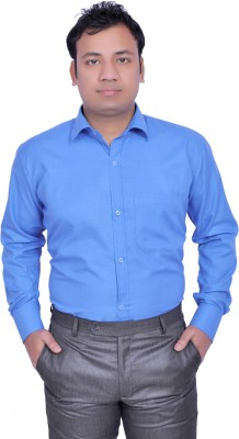 Frankline Men's Solid Formal Blue Shirt