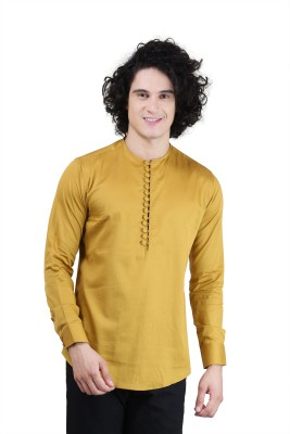 Skoosh Men's Solid Casual Gold Shirt