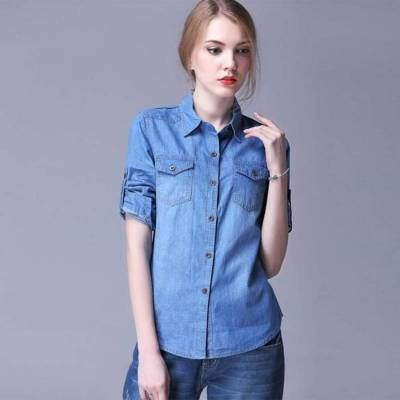 YASMIN CREATIONS Women's Solid Casual Denim Dark Blue Shirt