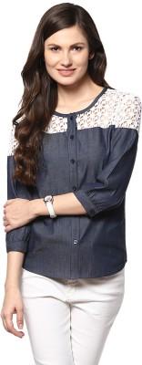 Abiti Bella Women Embroidered Casual Dark Blue Shirt at flipkart