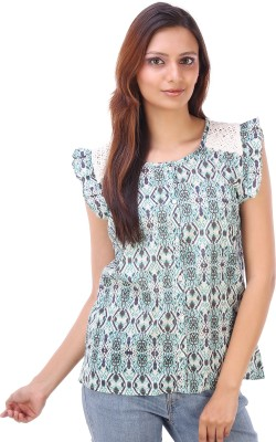 Goodwill Impex Women's Printed Casual Blue Shirt  available at flipkart for Rs.299