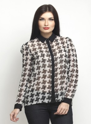 Oxolloxo Women Printed Casual White Shirt at flipkart