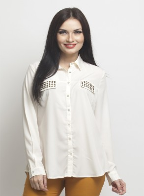 Oxolloxo Women Solid Casual White Shirt at flipkart