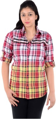 S9 Women's Woven, Checkered Casual Red, White, Yellow Shirt  available at flipkart for Rs.249