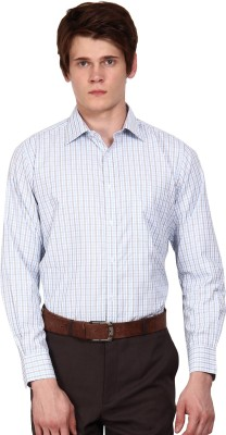I-Voc Men's Checkered Formal White, Blue Shirt