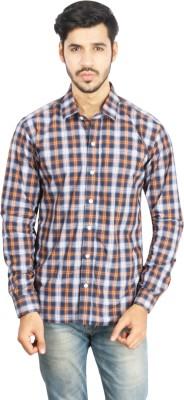 Ottoman Fashions Men Checkered Casual Blue, Orange Shirt Ottoman Fashions Casual Shirts