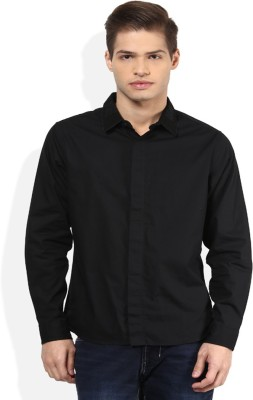 Ostium Men's Solid Wedding Black Shirt
