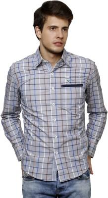 True Tittos Men's Checkered Casual Light Blue, White, Grey Shirt