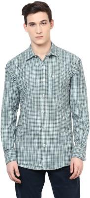 Urbano Fashion Men's Checkered Casual Green, White Shirt