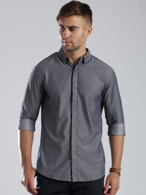 HRX by Hrithik Roshan Men's Self Design Casual Grey Shirt at flipkart