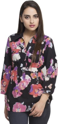 Oxolloxo Women Printed Casual Black Shirt at flipkart