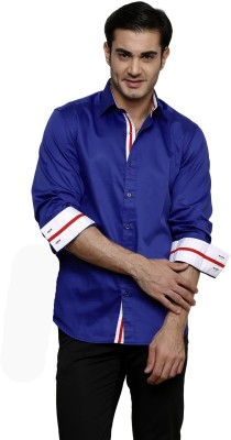 Dazzio Men's Solid Formal Blue Shirt