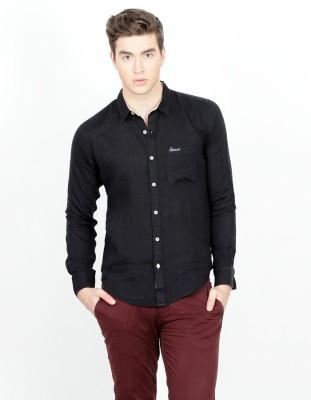 Basics Men's Solid Casual Black Shirt at flipkart