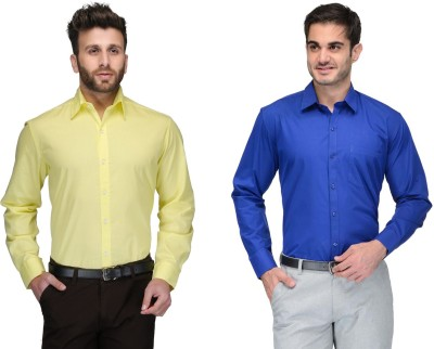 Allen Men's Solid Formal Yellow, Blue Shirt(Pack of 2)