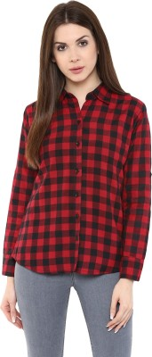 Mayra Women Checkered Party Red Shirt