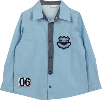 Beebay Baby Boys Solid Casual Blue Shirt
