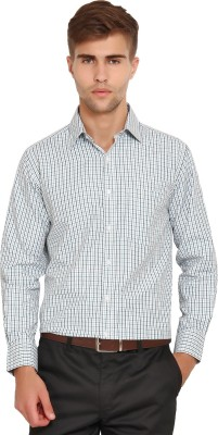 I-Voc Men's Checkered Formal White, Green Shirt
