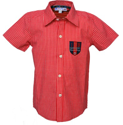 Beanie Bugs Boys Checkered Casual Red, White Shirt  available at flipkart for Rs.264