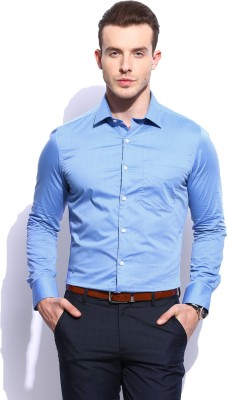 Invictus Men Solid Formal Blue Shirt at flipkart